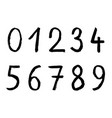 handwritten numbers on white background brusk vector image