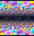 holographic new year card with neon balls vector image