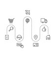 icons set delivery goods around world vector image