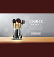 makeup brush banner holder wooden stand vector image vector image