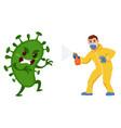 man fighting virus vector image vector image
