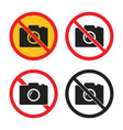 no camera icons set no photo signs vector image vector image