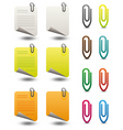 note papers paperclips icon set vector image