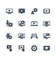 online education tutorials and webinars icon set vector image vector image
