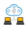 pair of laptops connected to cloud technology vector image vector image