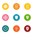 protective shield icons set flat style vector image
