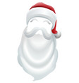 santa claus red hat and white beard vector image vector image