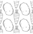 seamless black and white pattern with carrots and vector image vector image