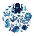 set cartoon marine animals in round frame vector image vector image