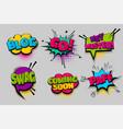 set comic text speech bubble pop art vector image vector image