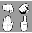 Set of hands in many and different gesture vector image vector image