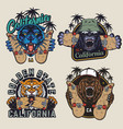 skateboarding and animals colorful labels vector image vector image