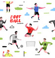soccer cartoon players seamless pattern vector image