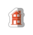 sticker of orange house of two floors vector image vector image