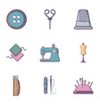 tailor stuff icons set flat style vector image vector image