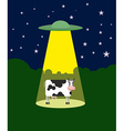 UFO abducts a cow Space aliens and cattle Flying vector image vector image