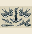 vintage tattoo designs monochrome set vector image vector image