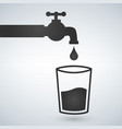 water tap and glass icon isolater on light vector image