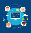 young children learning coding school class vector image