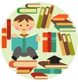 boy reading on pile of books vector image