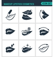 Set of modern icons Makeup lipstick vector image