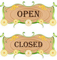 open-closed floral sign board vector image