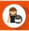 woman business portfolio file icon design vector image