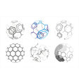 Molecule icons in spheres vector image