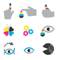 Print industry icons concepts vector image
