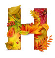 autumn stylized alphabet with foliage letter h vector image vector image