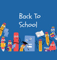 back to school poster with pencil character vector image vector image