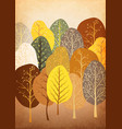 background from abstract autumn forest on old vector image