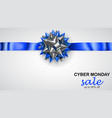 blue and silver bow with horizontal ribbon and vector image vector image
