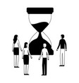 business people with hourglass time vector image vector image