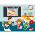 Children working on computer in classroom vector image vector image