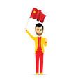 china flag waving man vector image vector image