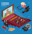 Cinema concept movie interior auditorium isometric vector image