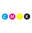 Cmyk print concept four circles in cmyk colors