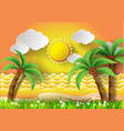 coconut trees on the beach with sunset vector image