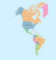coloured political map of north and south america vector image vector image