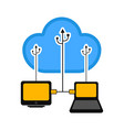 computer and laptop connected to cloud technology vector image vector image