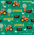 cute farm pattern with tractors carrots fence vector image vector image