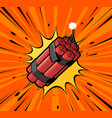 dynamite bomb explosion with burning wick detonate vector image vector image