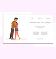 father hugs teenager daughter vector image vector image