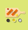 fresh raw salmon fish and spices on cutting board vector image
