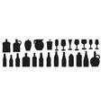 glass beverage and bottle silhouettes icons set vector image