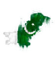 grunge map pakistan with pakistanian flag vector image
