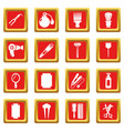 hairdresser icons set red square vector image vector image