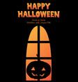 happy halloween window silhouette pumpkin shadow vector image vector image