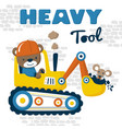 heavy tool cartoon with cute driver vector image